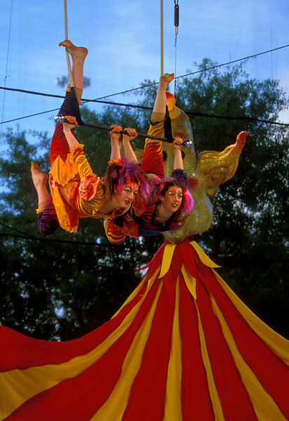 Stock photo of high flying acrobatic display at the International Festival in downtown Houston Texas