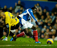 Photo: Gareth Davies.<br />Portsmouth v Everton. The Barclays Premiership. 09/12/2006.<br />Portsmouth's Benjani (R) round Everton Keeper Tim Howard (L) but fails to put the ball in the net.