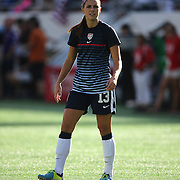 U.S. forward Alex Morgan (13) warms up prior to a women's soccer International friendly match between Brazil and the United States National Team, at the Florida Citrus Bowl  on Sunday, November 10, 2013 in Orlando, Florida. The U.S won the game by a score of 4-1.  (AP Photo/Alex Menendez)