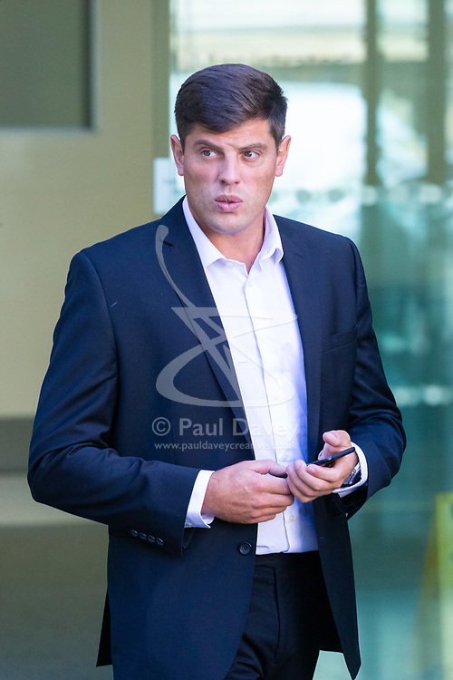 Joe Stuart, 32, of Wallington, Sutton, leaves Westminster Magistrates Court in London after having plead guilty to assaulting a Police Community Support Officer at Euston Station. London, August 29 2019.