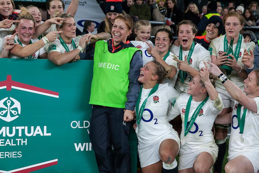 Lou's last hurrah with England Women, England Women v Canada Women in an Old Mutual Wealth Series, Autumn International match at Twickenham Stadium, London, England, on 26th November 2016. Full time score 39-6