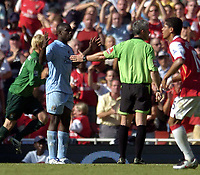 Photo: Olly Greenwood.<br />Arsenal v Manchester City. The FA Barclays Premiership. 25/08/2007. Micha Richards can't beleive referee Chris Foy gave a penalty
