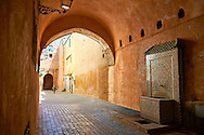 Moorish Arabesque arches and undergrround walkways of the Medina. A UNESCO World Heritage Site .Meknes, Meknes-Tafilalet, Morocco. .<br /> <br /> Visit our MOROCCO HISTORIC PLAXES PHOTO COLLECTIONS for more   photos  to download or buy as prints https://funkystock.photoshelter.com/gallery-collection/Morocco-Pictures-Photos-and-Images/C0000ds6t1_cvhPo<br /> .<br /> <br /> Visit our ISLAMIC HISTORICAL PLACES PHOTO COLLECTIONS for more photos to download or buy as wall art prints https://funkystock.photoshelter.com/gallery-collection/Islam-Islamic-Historic-Places-Architecture-Pictures-Images-of/C0000n7SGOHt9XWI