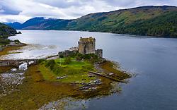 Aerial view of Eilean Donan Castle on Loch Duich , Kyle of Lochalsh, Scotland, UK