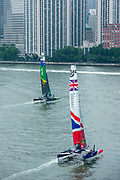 SailGP Team Australia and Team GBR during practice. Event 3 Season 1 SailGP event in New York City, New York, United States. 19 June 2019. Photo: Chris Cameron for SailGP. Handout image supplied by SailGP