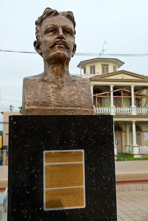 Angel G. Mislan Huertas Monument, Town Square, San Sebastian, Puerto Rico. Busto de Angel G. Mislan Huertas en la Plaza Pública de San Sebastian, puerto Rico.