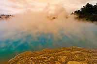 Steam rising above the Champagne Pool, Waiotapu Thermal Park, North Island, New Zealand