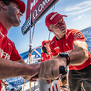 Leg 8 from Itajai to Newport, day 06 on board MAPFRE, Rob Greenhalgh and Blair Tuke grinding. 27 April, 2018.