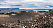"""Lago Viedma, seen from """"Loma del Pliegue Tumbado"""" trail in Los Glaciares National Park, above El Chalten, in Santa Cruz Province, Argentina, Patagonia, South America. From El Chalten, we hiked to Mirador """"Loma del Pliegue Tumbado"""" (""""hill of the collapsed fold""""), 19 km (11.9 mi) with 1170 meters (3860 ft) cumulative gain in Los Glaciares National Park. El Chalten mountain resort is 220 km north of El Calafate. Los Glaciares National Park and Reserve are honored on UNESCO's World Heritage List. This image was stitched from multiple overlapping photos."""