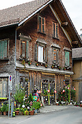 Buildings in Appenzell village, in Switzerland, Europe. Appenzell Innerrhoden is Switzerland's most traditional and smallest-population canton (second smallest by area).