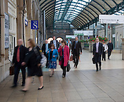 Morning commuters Hull Paragon railway station, Hull, Yorkshire, England