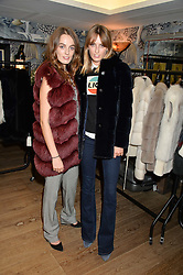 Left to right, sisters LADY VIOLET MANNERS and LADY ALICE MANNERS at the Mila Furs Trunk Show held at the Haymarket Hotel, 1 Suffolk Place, London on 1st November 2016.