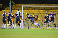 Southend United striker Nile Ranger (50) with a diving header during the EFL Sky Bet League 1 match between Southend United and Bradford City at Roots Hall, Southend, England on 19 November 2016. Photo by Matthew Redman.