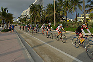 USA: Florida: Broward County: Fort Lauderdale: A local cycling group takes an early morning bicycle ride along the coast on Highway A1A.