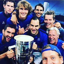"""Boris Becker releases a photo on Instagram with the following caption: """"The winning team #lavercup\ud83c\udfbe #europe"""". Photo Credit: Instagram *** No USA Distribution *** For Editorial Use Only *** Not to be Published in Books or Photo Books ***  Please note: Fees charged by the agency are for the agency's services only, and do not, nor are they intended to, convey to the user any ownership of Copyright or License in the material. The agency does not claim any ownership including but not limited to Copyright or License in the attached material. By publishing this material you expressly agree to indemnify and to hold the agency and its directors, shareholders and employees harmless from any loss, claims, damages, demands, expenses (including legal fees), or any causes of action or allegation against the agency arising out of or connected in any way with publication of the material."""
