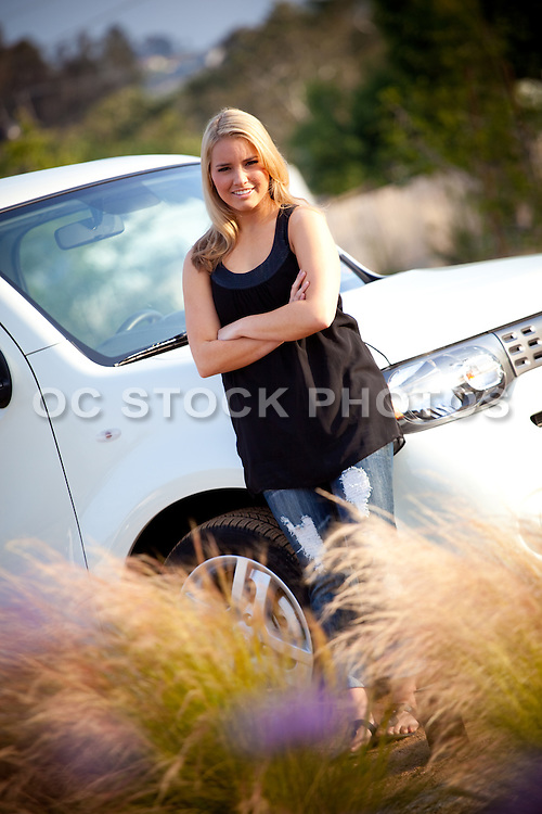 Blonde Teenage Girl And Her Car