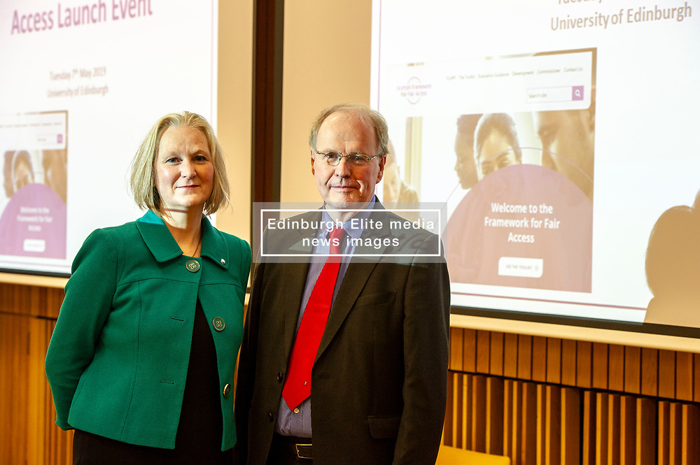 Pictured: Karen Watt, Chief Executive Officer, Scottish Funding Council and Professor Sir Peter Scott,<br /><br />The Commissioner for Fair Access, Professor Sir Peter Scott, launched the framework, realising a key recommendation from the Commission on Widening Access.<br /><br /> Ger Harley   EEm 7 May 2019