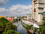 20 APRIL 2015 - BANGKOK, THAILAND:    A new residential construction project along Khlong Dan in the Thonburi section of Bangkok.  PHOTO BY JACK KURTZ