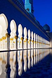 Sheikh Zayed Grand Mosque at night in Abu Dhabi United Arab Emirates