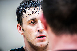 Concentration on the student's face. Franklyn Hartkamp takes the Institute Of Krav Maga Scotland grading today at Stirling.<br /> ©Michael Schofield.
