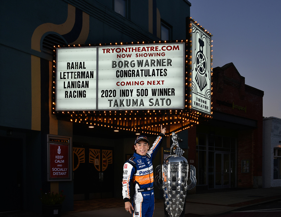 October 7, 2020 2020 Indianapolis 500 winner Takuma Sato with the Borg-Warner Trophy at Tryon Theatre. Tryon, North Carolina USA<br /> ©2020 Scott R LePage