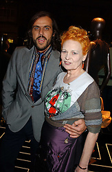 Top British fashion designer VIVIENNE WESTWOOD and her husband MR ANDREAS KRONTHALER at a party hosted by Versace during London Fashion Week 2005 at their store in Slaone Street, London on 19th September 2005.<br /><br />NON EXCLUSIVE - WORLD RIGHTS