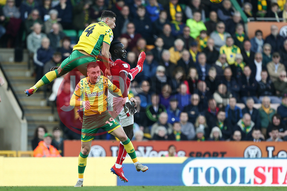 Famara Diedhiou of Bristol City battles for possession - Mandatory by-line: Arron Gent/JMP - 23/02/2019 - FOOTBALL - Carrow Road - Norwich, England - Norwich City v Bristol City - Sky Bet Championship