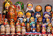 Russian Babushka dolls on display in a market in St Petersburg, Russia