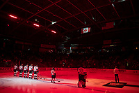 KELOWNA, BC - FEBRUARY 7: The Kelowna Rockets starting line up stands on the blue line for the national anthem against the Portland Winterhawks at Prospera Place on February 7, 2020 in Kelowna, Canada. (Photo by Marissa Baecker/Shoot the Breeze)