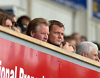 Photo: Ashley Pickering.<br /> Ipswich Town v Cardiff City. Coca Cola Championship. 06/05/2007.<br /> Ipswich Town manager Jim Magilton (R) watches from the stands with Chairman David Sheepshanks as he serves a touchline ban