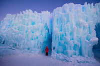 Ice Castles, Dillon Town Park, Dillon, Colorado USA. Ice Castles is an award-winning frozen attraction located in six cities across North America. The experience is built using hundreds of thousands of icicles hand-placed by professional ice artists.