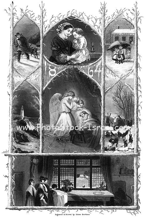 Christmas Nativity scene From Godey's Lady's Book and Magazine, January 1864, Philadelphia, Louis A. Godey, Sarah Josepha Hale,