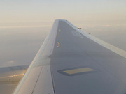 wing of airplane in flight