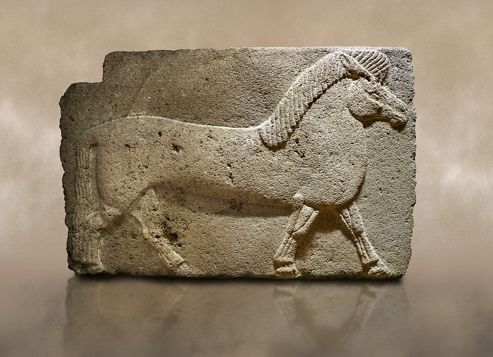 Photo of Phrygian relief sculpted orthostat stone panel. Andesite, Kucukevler, Ankara., 1200-700 B.C.  Walking horse. Muscles in the legs of the figure are schematic. Anatolian Civilisations Museum, Ankara, Turkey.<br /> <br /> Against a brown art background. .<br /> <br /> If you prefer you can also buy from our ALAMY PHOTO LIBRARY  Collection visit : https://www.alamy.com/portfolio/paul-williams-funkystock/phrygian-antiquities.html  - Type into the LOWER SEARCH WITHIN GALLERY box to refine search by adding background colour, place, museum etc<br /> <br /> Visit our CLASSICAL WORLD PHOTO COLLECTIONS for more photos to download or buy as wall art prints https://funkystock.photoshelter.com/gallery-collection/Classical-Era-Historic-Sites-Archaeological-Sites-Pictures-Images/C0000g4bSGiDL9rw