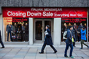 An Italian Menswear retail store hosting a Closing Down Sale in Moorgate, central London, United Kingdom. Many retail businesses have suffered badly during the financial crisis and have been forced to close down.