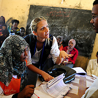 Khartoum, Sudan 14 April 2010<br /> EU observers in a polling station during the presidential elections in Sudan.<br /> Photo: Ezequiel Scagnetti