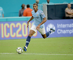 July 28, 2018 - Miami Gardens, FL, USA - Manchester City striker Lukas Nmecha drives the ball during the first half against Bayern Munich in an International Champions Cup match at Hard Rock Stadium in Miami Gardens, Fla., on Saturday, July 28, 2018. (Credit Image: © Pedro Portal/TNS via ZUMA Wire)