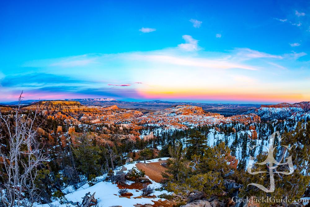 Sunset over Sunrise Point. Bryce Canyon, Utah
