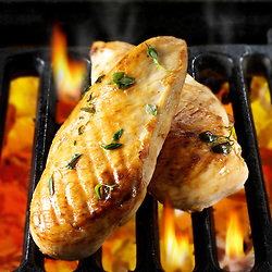 Chicken fillets cooking on a bbq. Food photos, pictures & images.