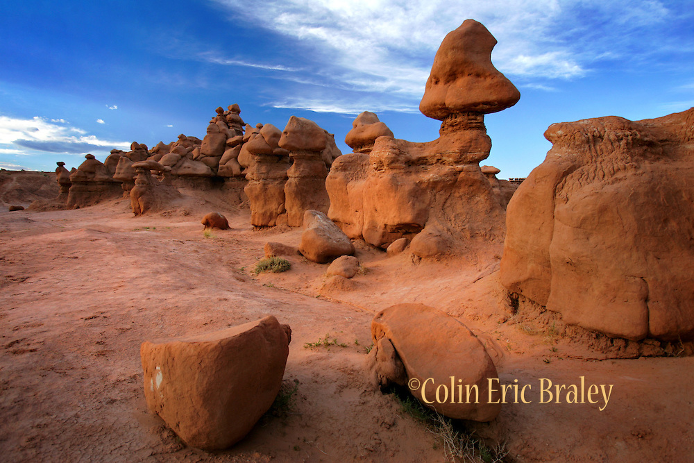 """Sandstone carved by thousands of years of wind and rain created these strange formations called """"Hoodoos"""" at Goblin Valley State Park in Utah."""