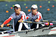 Hamilton, NEW ZEALAND. USA LW2X. Bow, Ursula GROBLER and Abelyn BROUGHTON, move away from the start in their heat of the lightweight women's double sculls.   2010 World Rowing Championship on Lake Karapiro Saturday  30/10/2010. [Mandatory Credit Peter Spurrier:Intersport Images].