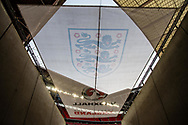 General shot of the stadium and England Crest during the FIFA World Cup Qualifier match between England and Slovenia at Wembley Stadium, London, England on 5 October 2017. Photo by Sebastian Frej.