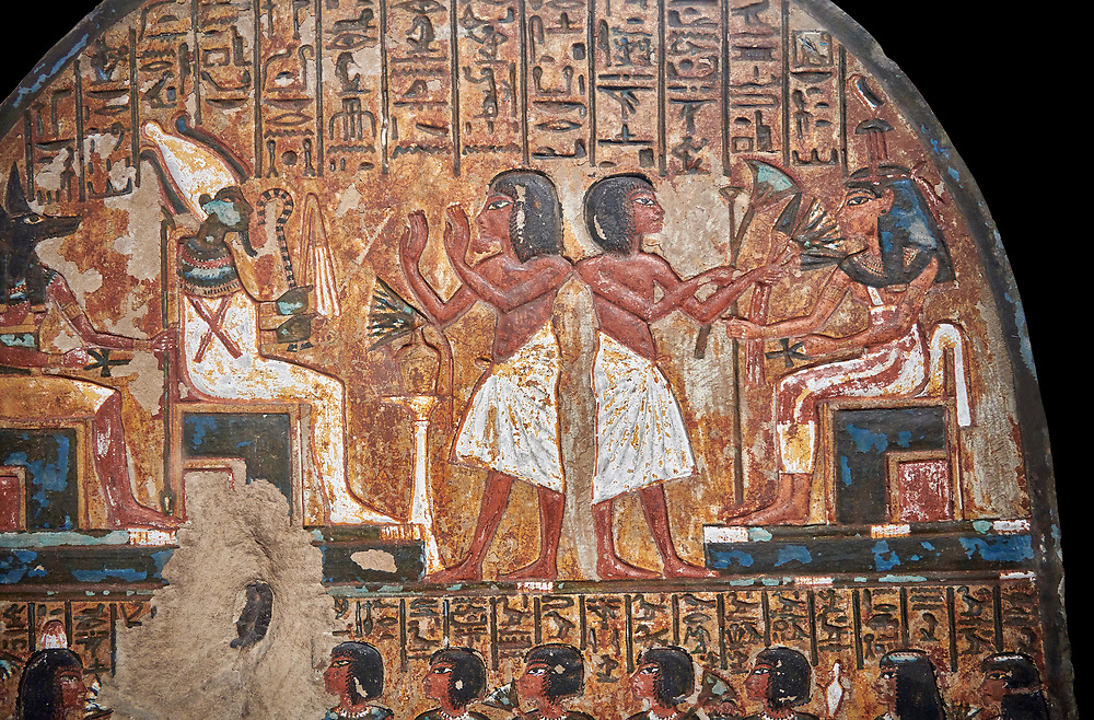 """Ancient Egyptian stele of scraftsman Minhotep in adoration of Osiris, limestone, New Kingdom, 18th Dynasty, (1336-1292 BC), Deir el-Medina, Drovetti cat 1619. Egyptian Museum, Turin. black background,<br /> <br /> The stele is dedicated to Osiris, Anubis and Hathor """"Mistress of the World"""". .<br /> <br /> If you prefer to buy from our ALAMY PHOTO LIBRARY  Collection visit : https://www.alamy.com/portfolio/paul-williams-funkystock/ancient-egyptian-art-artefacts.html  . Type -   Turin   - into the LOWER SEARCH WITHIN GALLERY box. Refine search by adding background colour, subject etc<br /> <br /> Visit our ANCIENT WORLD PHOTO COLLECTIONS for more photos to download or buy as wall art prints https://funkystock.photoshelter.com/gallery-collection/Ancient-World-Art-Antiquities-Historic-Sites-Pictures-Images-of/C00006u26yqSkDOM"""