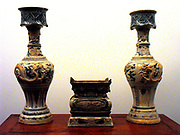 Pair of altar vases dated 1579. 16th century Chinese stoneware