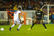 Great-Nii-Okai Evans (30) of AFC Wimbledon during the Pre-Season Friendly match between Aldershot Town and AFC Wimbledon at the EBB Stadium, Aldershot, England on 28 July 2017. Photo by Graham Hunt.
