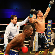 Luis Arias celebrates as Dashon Johnson react to the scores during Showtime Televisions ShoBox:The Next Generation boxing match at the Event Center at Turning Stone Resort Casino on Friday, February 28, 2014 in Verona, New York.  (AP Photo/Alex Menendez)