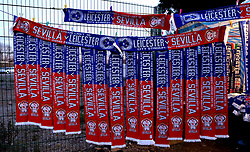 Half and half scarfs outside The King Power Stadium ahead of the Champions League fixture between Leicester City and Sevilla - Mandatory by-line: Robbie Stephenson/JMP - 14/03/2017 - FOOTBALL - King Power Stadium - Leicester, England - Leicester City v Sevilla - UEFA Champions League round of 16, second leg