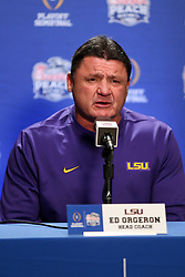 Head coach Ed Orgeron of the LSU Tigers speaks with the media at Media Day on Thursday, Dec. 26, in Atlanta. LSU will face Oklahoma in the 2019 College Football Playoff Semifinal at the Chick-fil-A Peach Bowl. (Jason Parkhurst via Abell Images for the Chick-fil-A Peach Bowl)