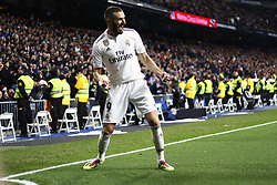 January 25, 2019 - Madrid, Madrid, Spain - Karim Benzema (Real Madrid) seen celebrating after scoring a goal during the Copa del Rey Round of quarter-final first leg match between Real Madrid CF and Girona FC at the Santiago Bernabeu Stadium in Madrid, Spain. (Credit Image: © Manu Reino/SOPA Images via ZUMA Wire)