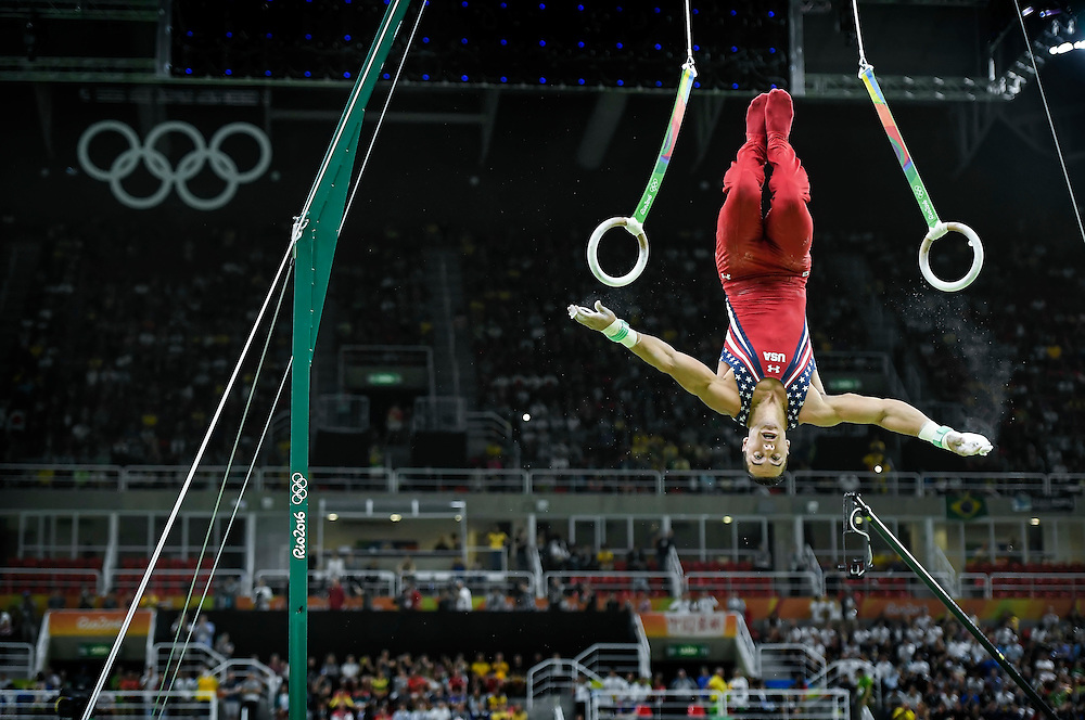 United States men's gymnast Jacob Dalton dismounted from the rings in the men's team final at Rio Olympic Arena on Monday at the 2016 Summer Olympics Games in Rio de Janeiro, Brazil. The United States finished fifth overall.